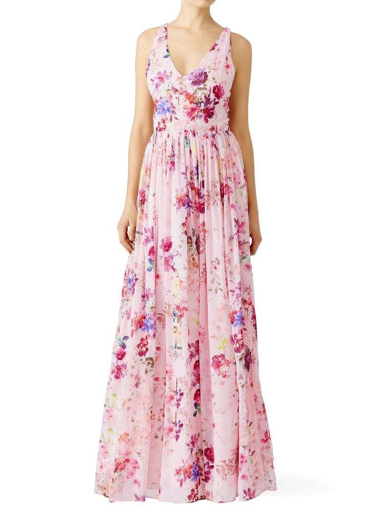 Floral blush bridesmaid dress with V-neck