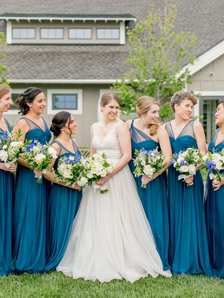 Elegant Blue Chiffon Bridesmaid Dresses with Illusion Straps
