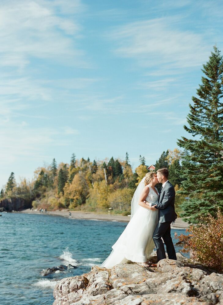 Couple On Lake Superior at Lutsen Resort in Minnesota