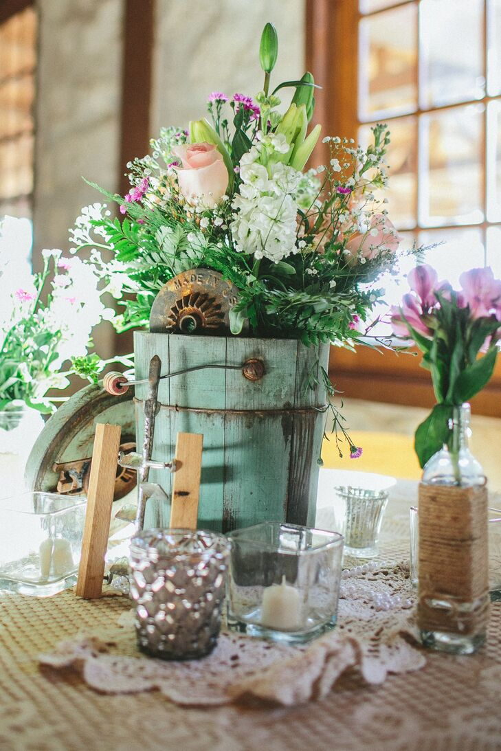 vintage bucket and vase centerpieces with lace and pearls rh theknot com