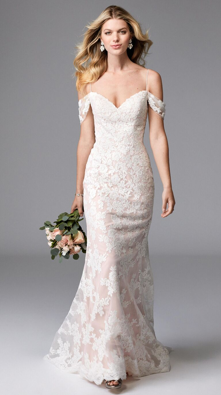 c791fd7f4a01 Wtoo Spring 2017 cold shoulder lace overlay V-neck sheath wedding dress