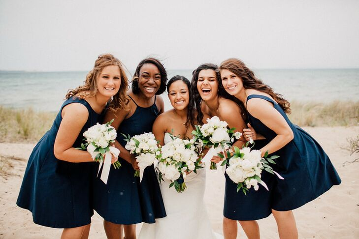 The five bridesmaids selected their gowns from eight style options, all in the same color and fabric.