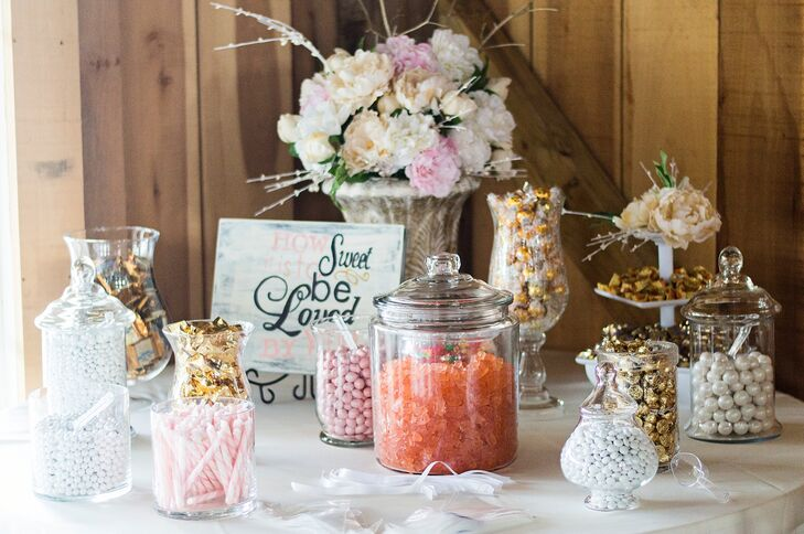 """""""We had a candy buffet for the guest favors,"""" which allowed attendees to mix and match the type of sweets they wanted to take home, Taylor says. The reception also featured a fun photo booth."""