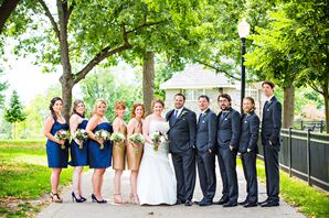 Blue and Gold Bridesmaid Dresses and Classic Groomsmen Suits