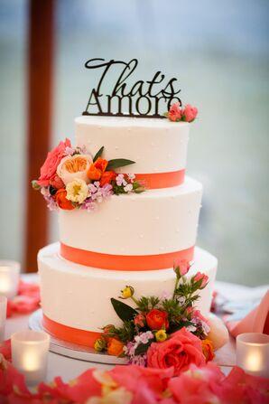 Ribbon-Trimmed Polka Dot Wedding Cake
