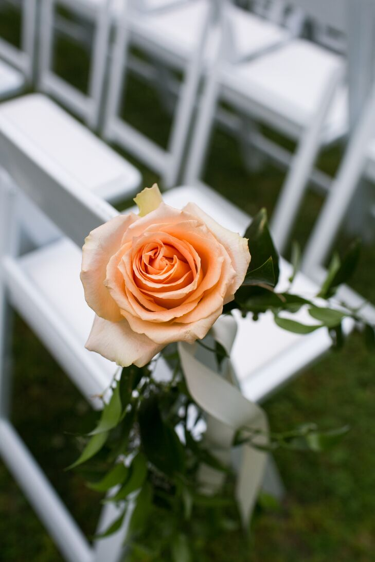 Peach Rose Aisle Marker