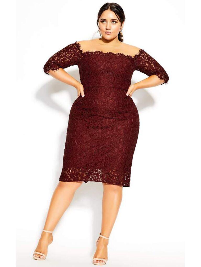 Burgundy lace off-the-shoulder midi dress