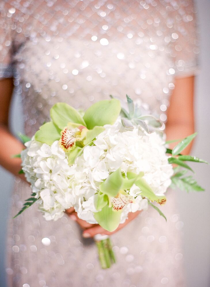 Green Orchid, Hydrangea and Succulent Bouquet