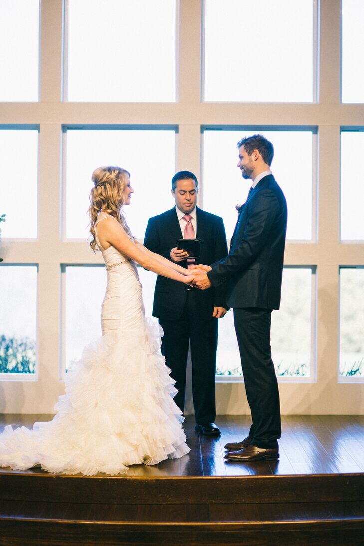 Elena and Derek exchanged vows in the ceremony room at The Milestone Denton, a mansion venue in Krum, Texas. An hors d'oeuvres and dessert reception followed the ceremony in the ballroom.