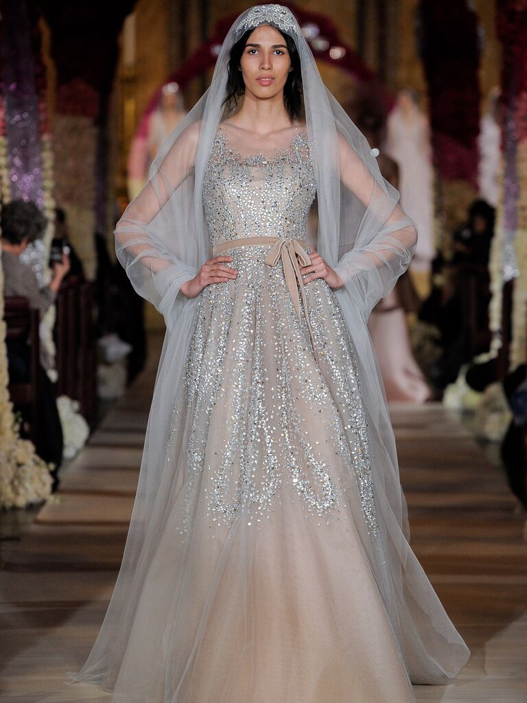 Reem Acra Spring 2020 Bridal Collection beaded wedding dress with waist bow
