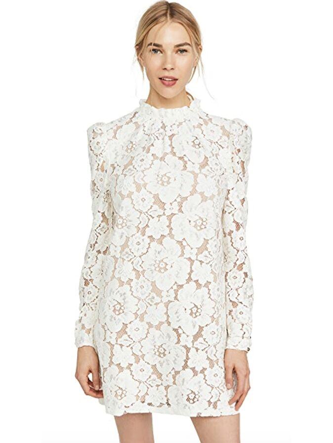 Lace long sleeve high neck mini dress