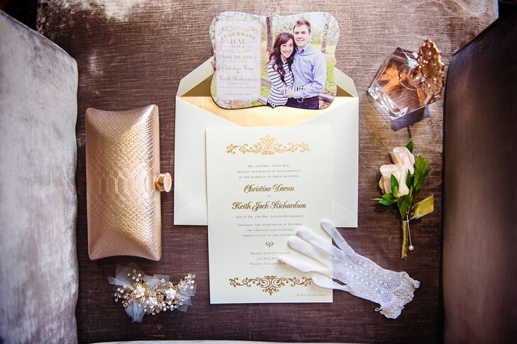 """I went with a simple ecru and gold foiled printed invitation set from Crane & Co,â€u009d Christine says. ""The sides of the invitation were even hand painted with 14k gold paint!â€u009d"