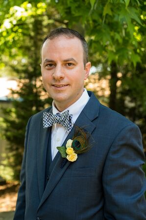 Peacock Boutonniere and Checkered Bow Tie