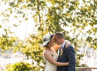 "Meagan Brunner (28 and a student) and Richard Duck (39 and a restaurant manager) wanted a wedding that felt like a backyard party. ""Rich and I enterta"