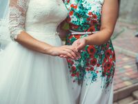 Mother-in-law and daughter-in-law on wedding day