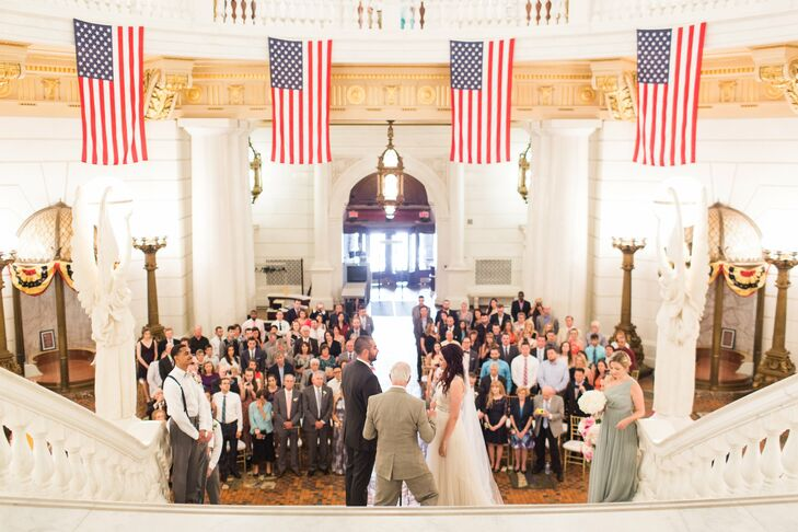Pennsylvania Capitol Wedding Ceremony With American Flags