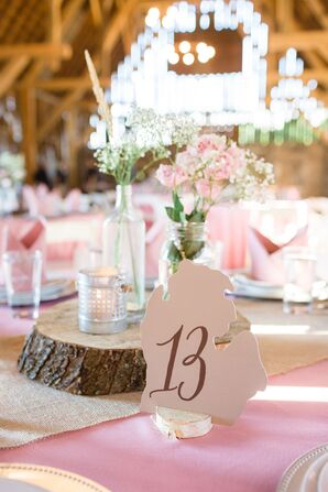 Rustic Tablescape With Michigan-Shaped Table Numbers