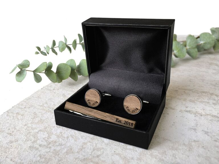 Black gift box with wood cuff links and tie bar