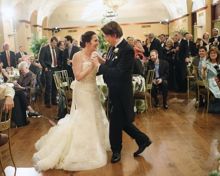"Abby and Sam had their first dance to ""Thank You"" by Led Zeppelin. ""We'd never really danced together before the wedding, and we wound up laughing the whole way through the song,"" recalls Abby. ""But by the end of the night, we were dancing fiends!"""