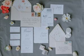 Romantic White Invitations and Paper Goods with Silver Calligraphy