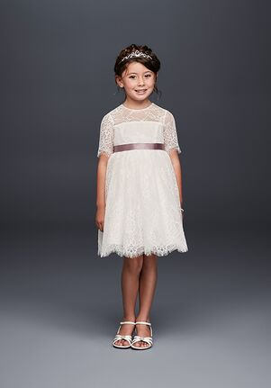 David's Bridal Flower Girl WG1373 White Flower Girl Dress