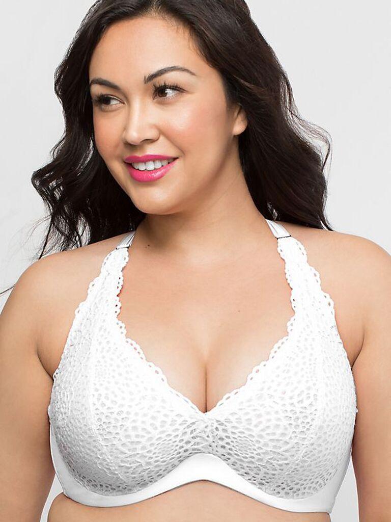 White lace plus size bra
