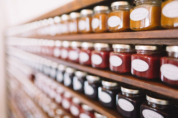 """Oriana and her mom made and canned 450 mini jars of jelly to give to guests as favors, an activity that became special bonding time for the mother-daughter duo. The labels said """"jam-packed with love."""""""