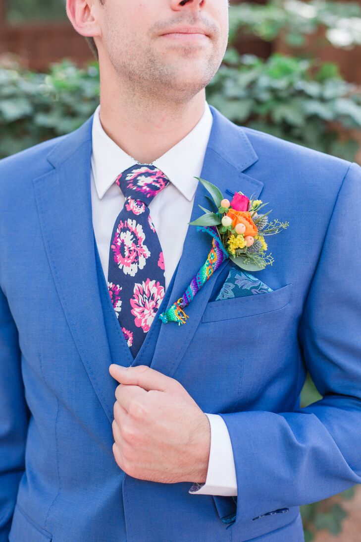 Floral-Print Tie and Cusco-Blanket-Wrapped Boutonniere