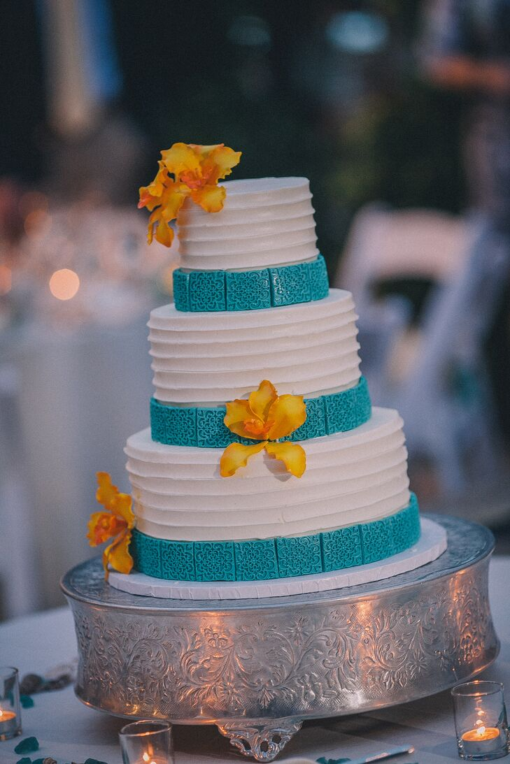 Teal Tile Accented White Wedding Cake
