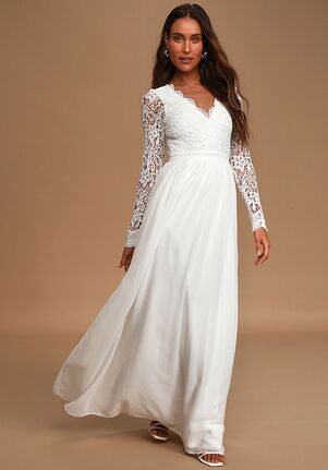 Lulus Awaken My Love White Long Sleeve Lace Maxi Dress A-Line Wedding Dress