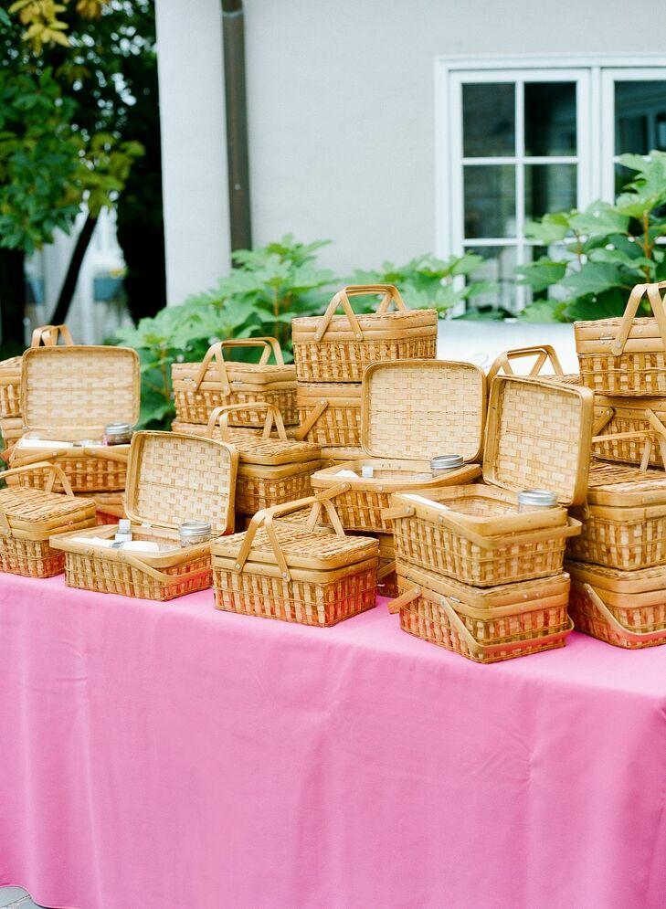 Individual Food Baskets for Socially-Distanced Backyard Microwedding in Potomac, Maryland