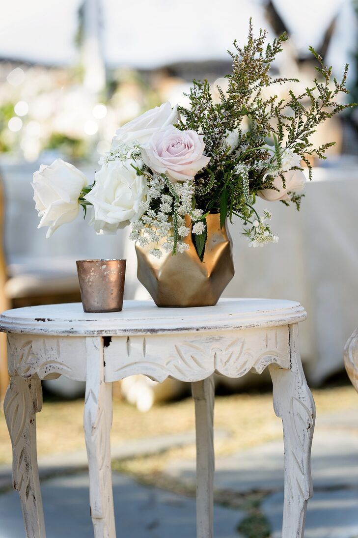 Wildflower and Rose Cocktail Table Arrangements