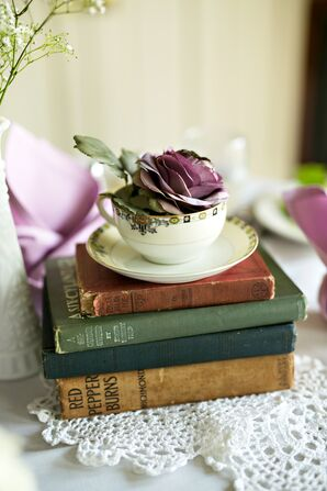 Vintage Teacup and Book Centerpiece