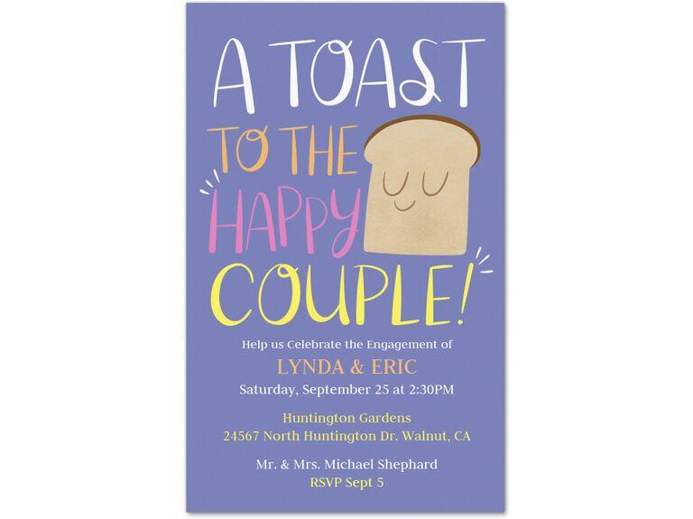 Toast pun purple engagement party invitation