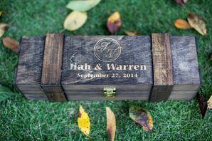 Rustic Wooden Ring Box With Custom Monogram