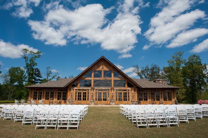 """The ceremony and reception were both held at Foxhall Resort and Sporting Club's Legacy Lookout. """"Bordering the Chattahoochee River on one side and wooded hills and manicured rolling lawns on the other, Foxhall feels like a faraway escape but is only a half hour from the center of Atlanta!"""" says Colleen."""