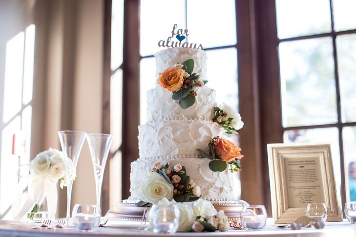 Textured Buttercream Wedding Cake with Fresh Flower Accents