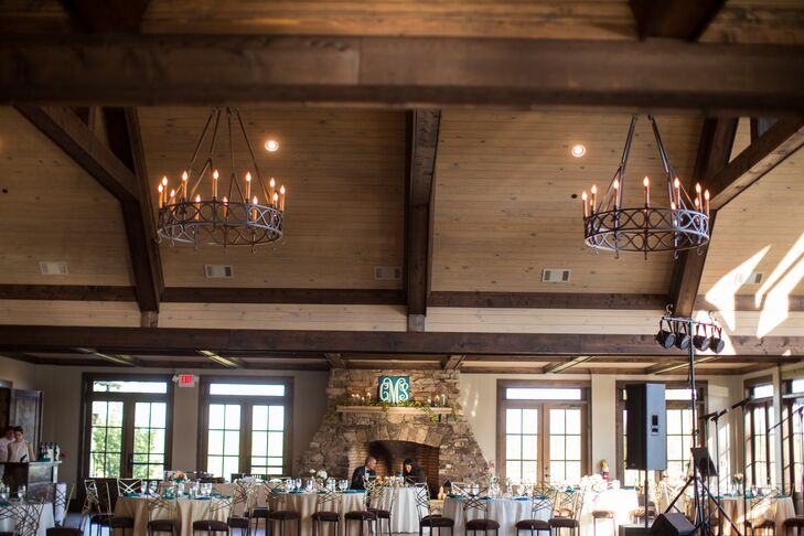 """""""We chose to have our wedding at Foxhall because the rustic timbers and stone venue is stunning!"""" says Colleen. """" Legacy Lookout is a truly a spectacular venue with an indoor/outdoor fireplace and sweepingrnviews overlooking the Chattahoochee River and Legacy Lake!"""""""