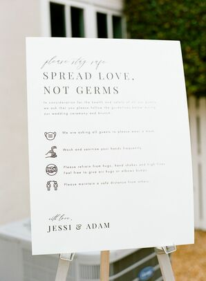 Social Distancing Sign for Microwedding in Potomac, Maryland