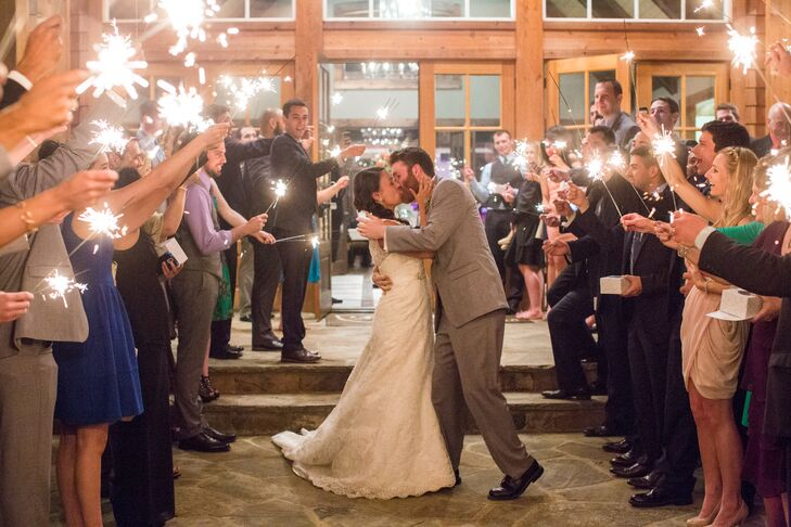 """Highlights of the festive night included: a bride-groom dance off (which Colleen won when she pulled off """"The Worm"""" in her wedding dress),  surprise late-night Chick-fil-A sandwiches and a sparkler sendoff."""
