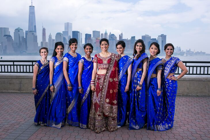 07348d0c21 Neha's bridesmaids took their traditional wedding day looks to a new level.  Each woman looked