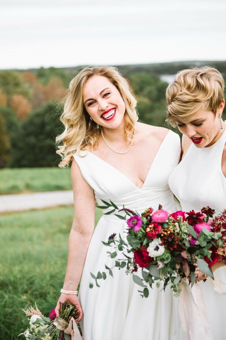 Erin Cooney (left) and Kelly	Dalton hosted a casual DIY wedding in their friends' coastal Maine backyard. The rustic New England–themed celebration bo