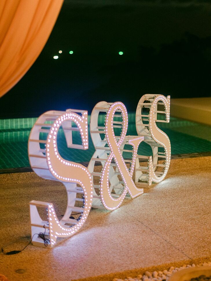 Large Marquee Letters at Phuket, Thailand, Wedding Reception