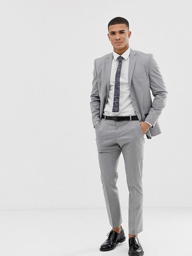 Light gray wedding guest suit