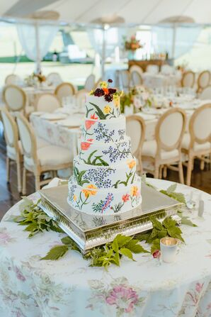 Modern Floral Painted Wedding Cake with Metal Cake Stand