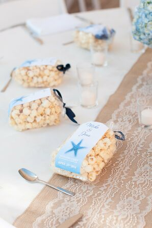 Blue Personalized Kettle Corn Wedding Favors
