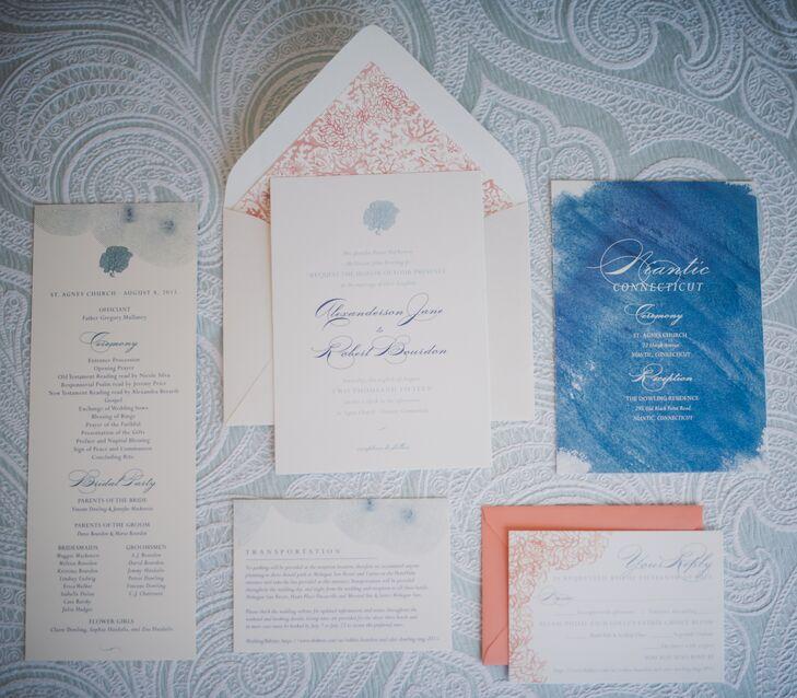 Formal Watercolor Wedding Invitations