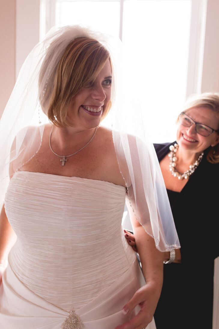 Elbow-Length Wedding Veil with Delicate Beaded Edging