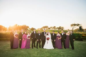 Plum and Black Bridal Party Attire