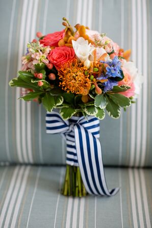 Colorful Bridesmaid Bouquet with Orange Proteas
